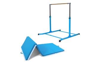 Value Combo Gymnastic Horizontal Bar Sports Junior Training Bar + Gym Mat (Blue Set)