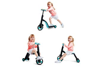 3 in 1 Kids Trike Scooter and Ride Tricycle Balance Bike Kick Scooter with Brake - Blue