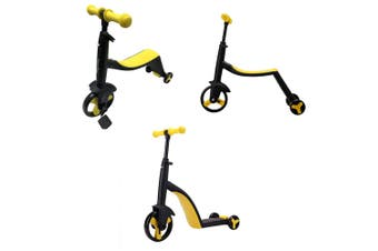 3 in 1 Kids Trike Scooter and Ride Tricycle Balance Bike Kick Scooter with Brake - Yellow