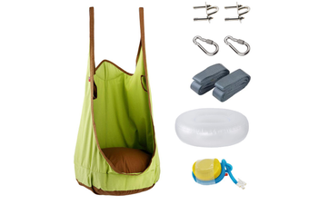 Large Kids Swing Hammock Pod Chair Rope Hanging Seat Nest Indoor Outdoor (Green)