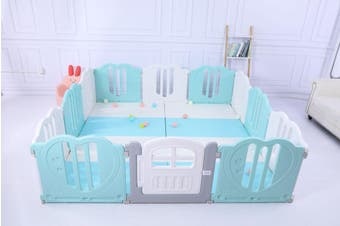 Baby Playpen Kids Activity Centre Safety Play Yard Home Indoor 221x221cm - 221x221 Pen&Mat&Slide