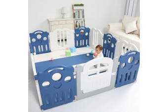 Baby Playpen Kids Activity Centre Safety Play Yard Home Indoor - Blue - 173x197 Pen & Slide