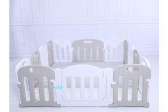 Baby Playpen Kids Activity Centre Safety Sturdy Play Pen Yard - Grey - 180x150cm Pen & Mat & Slide