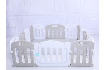 Baby Playpen Kids Activity Centre Safety Sturdy Play Pen Yard - Grey - 200x180cm Pen & Mat & Slide