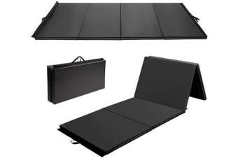 3Mx1.2Mx5cm Folding Tumbling Mat Gymnastics Gym Exercise Mat High Density - Black