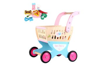Kids Toddler Wooden Shopping Cart Toy Shopping Trolley Pretend Play Shop Role Play
