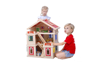 Deluxe Large Wooden Dollhouse Role Play House Full Set Colourful Furniture