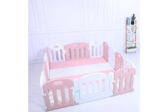 Baby Playpen Kids Activity Centre Safety Sturdy Play Pen Yard - Pink - 180x150cm Pen & Mat & Slide