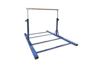 Advanced Gymnastic Horizontal Bar Long Base Training Bar Adjustable Height Kip Bar (Blue)