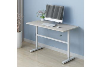 ZASS Stand Up Table Sit & Stand Desk Height Adjustable Table Laptop Desks Home Office Manual Adj. - White Maple