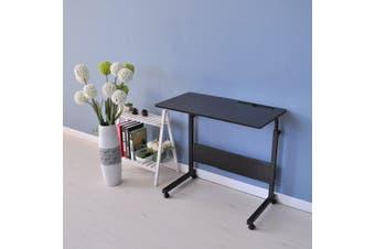 ZASS Mobile Rolling Computer Desk Bed Side Workstation Height Adjustable Table - Dark Brown