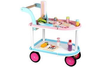 Kids Wooden Doctors Kit Medical Cart Toy Set with Wheels Kids Role Play Set