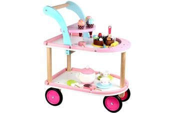 Role Play Set Kids Wooden Serving Cart Ice Cream Cart Toy w/ 20 Pieces Toys