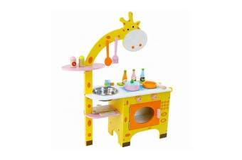 Wooden Pretend Play Giraffe Kitchen Hearth Play Set for Kids Full Set Cookware