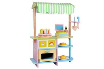 Wooden Bakery Shop Play Set Pretend Stand for Kids Bake Shop Counter w Full Set Toys