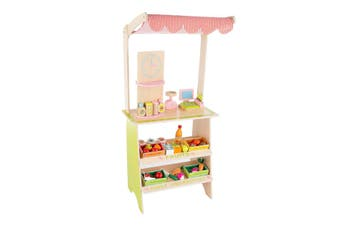 Kids Fresh Market Selling Stand Booth Wooden Grocery Stall Playset with 31pcs Toy Accessories