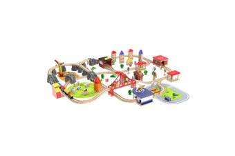 Deluxe 141 Pieces City Wooden Train Rail Set Complete City Themed Rail Toy Set for Kids