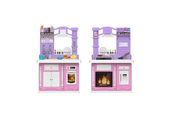 Double Sided Large Pretend Play Cooking Kitchen for Kids Toddlers Full Set Cookware Toys - Pink & Purple