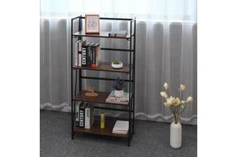 Folding Bookshelf Home Office Industrial Bookcase Storage Shelves 4 Tiers Book Stand