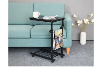 Rolling Height Adjustable Desk Sofa Side Table with Storage Small Laptop Table - Dark Brown
