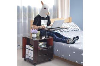 Multifunctional Height Adjustable Bedside Table Wooden Nightstand Laptop Table with Wheels - Dark Brown