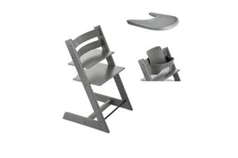 Classic Wooden Height Adjustable Baby Feeding High Chair Including Baby Set and Food Tray - Grey
