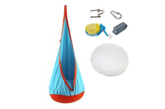 Kids Swing Hammock Pod Chair Hanging Sensory Seat Nest Indoor Outdoor Use (Light Blue)