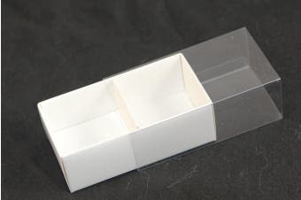 10 x White Chocolate Box - 2 Compartments - Clear Slide On Lid - 8x4x3cm