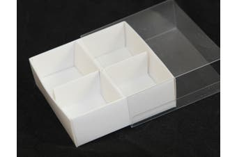 10 x White Chocolate Box - 4 Compartments - Clear Slide On Lid - 8x8x3cm