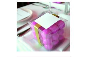 10 Piece Pack - PVC 5cm Square Cube Clear Plastic Gift Box - Wedding Bomboniere Favour