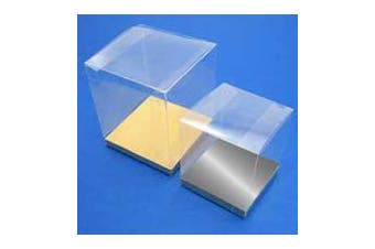10 Piece Pack -PVC 8cm Square Cube Clear Plastic Present Box - Cup Cake - Product Showcase