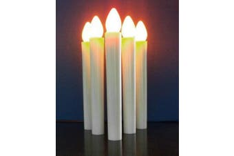 10 x Battery Taper Stick White Candle - Natural Flame Light Colour - Candelabra and/or Hand held