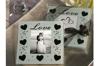 10 x Love and Hearts White and Black Wedding Glass Coaster - Photo Frame - 2 per set (20) - Bomboniere