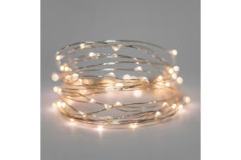 10 x Warm White MICRO LED 20 Bulb  light battery power wedding table centrepiece 2mtr - free post
