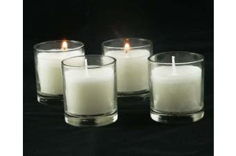 10 x White Wax Clear Glass Embedded Votive Candle Cup Jar - Wedding Event Centrepiece Table Decoration