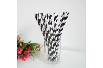 Black White Stripe Biodegradable Paper Drinking Straws Birthday Party Cafe Take Away