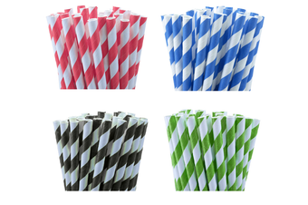 Green White Stripe Biodegradable Paper Drinking Straws Birthday Party Cafe Take Away