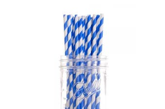 Blue White Stripe Biodegradable Paper Drinking Straws Birthday Party Cafe Take Away