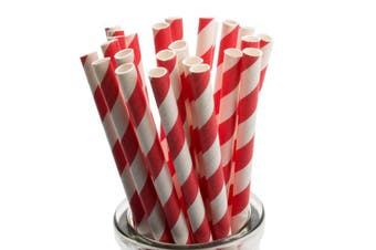 Red White Stripe Biodegradable Paper Drinking Straws Birthday Party Cafe Take Away