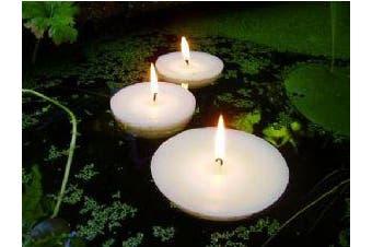 Large 8cm wide 6 Hour Pure White Floating Wedding Pool Pond Bowl Event Candles - 10 pack