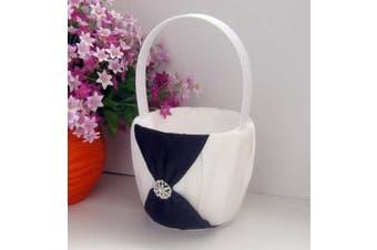 White Wedding Flower Girl Petal Basket - Black Bow and Diamante Stud Design