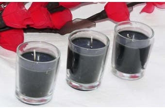 Black Wax Clear Glass Votive Table Candle - Noir Gothic Ball Party