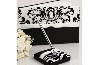 Black White Damask Wedding Guest Register Book - 70 Pages + Pen & Stand
