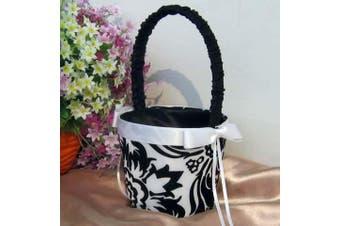 White Wedding Flower Girl Petal Basket - Black and White Fleur Design White Ribbon Bow