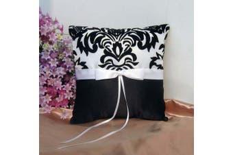 White Wedding Ring Bearer Pillow - Black and White Fleur Design White Ribbon Bow