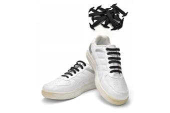 BLACK - No Tie Shoe Laces - Silicon Eyelet Anchor - 16 Straps Adult - Free Post