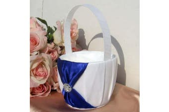 White Wedding Flower Girl Petal Basket - Blue Bow and Diamante Stud Design