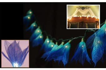 20 Blue Lily Liladee Fairy Lights on a LED battery power pack