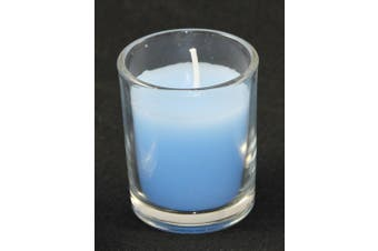 Baby Blue Wax Candle in Glass Votive 6cm Holder Christening Memorial