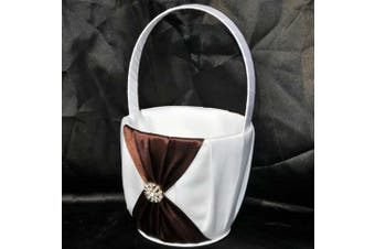 White Wedding Flower Girl Petal Basket - Chocolate Brown Sach Ribbon Bow and Diamante Stud Design